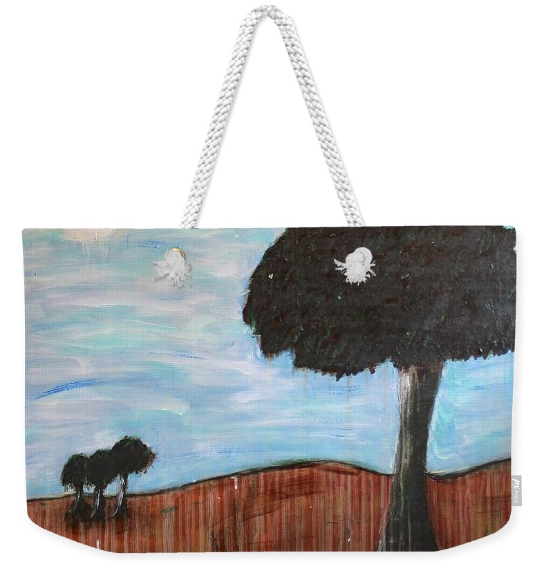 Trees Weekender Tote Bag featuring the painting Landscape - Distant Cousins by Mario MJ Perron