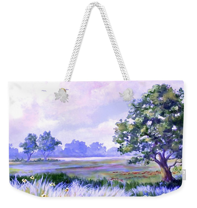 Landscape Art Weekender Tote Bag featuring the painting Landscape In Blues by Cheryl Hamilton