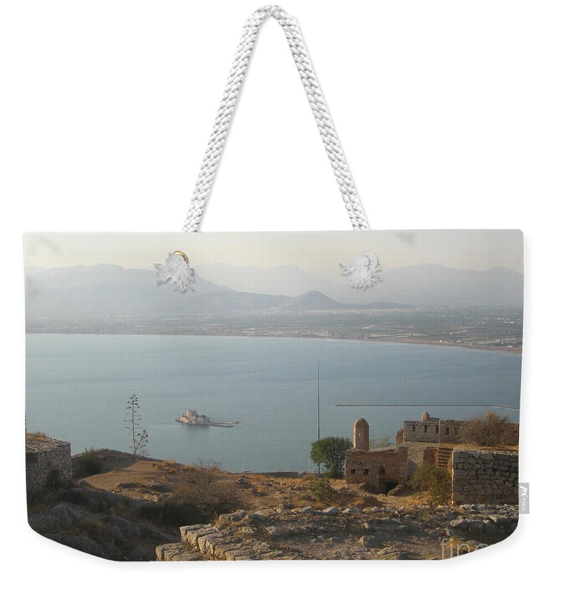 Greece Weekender Tote Bag featuring the photograph Landscape In Gold by Clay Cofer