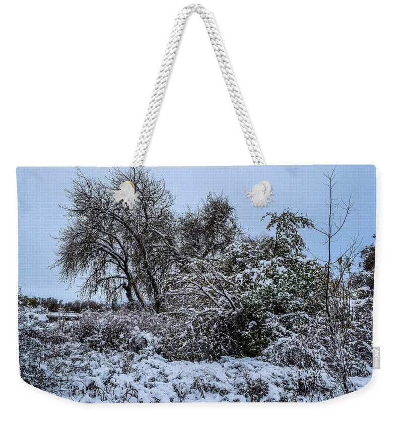 Landscape Weekender Tote Bag featuring the photograph Landscape In The Snow by Michael Putthoff
