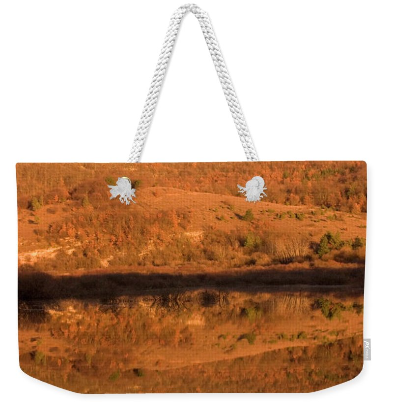 Travel Weekender Tote Bag featuring the photograph Landscape Perfectly Reflected In Palsko Lake by Ian Middleton