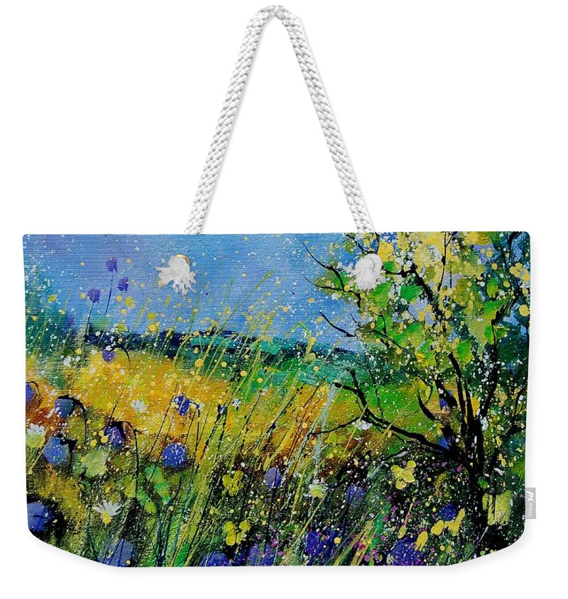 Flowers Weekender Tote Bag featuring the painting Landscape With Cornflowers 459060 by Pol Ledent