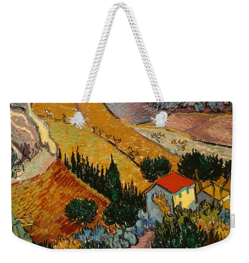 Landscape Weekender Tote Bag featuring the painting Landscape With House And Ploughman by Vincent Van Gogh