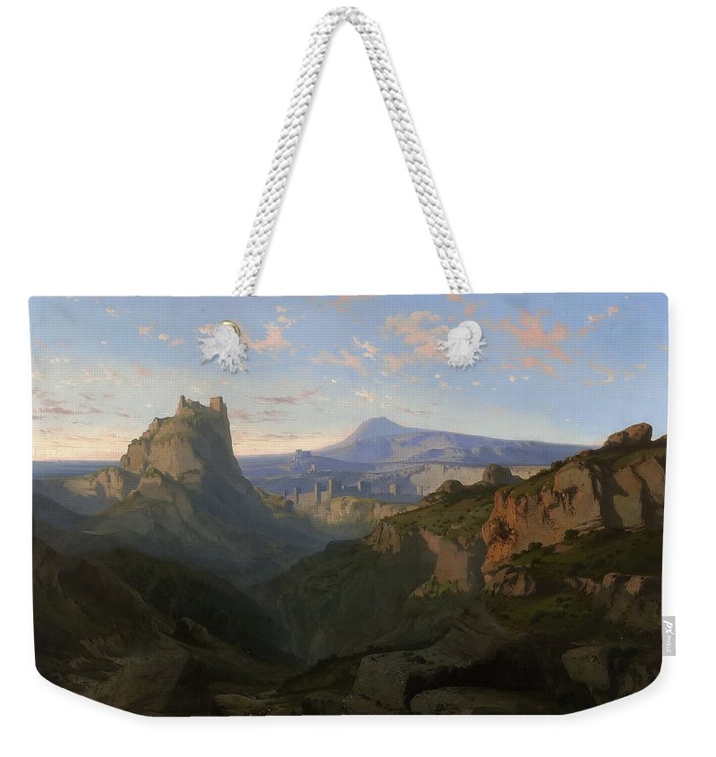 Lluis Rigalt Weekender Tote Bag featuring the painting Landscape With The Castle Of Montsegur by Lluis Rigalt