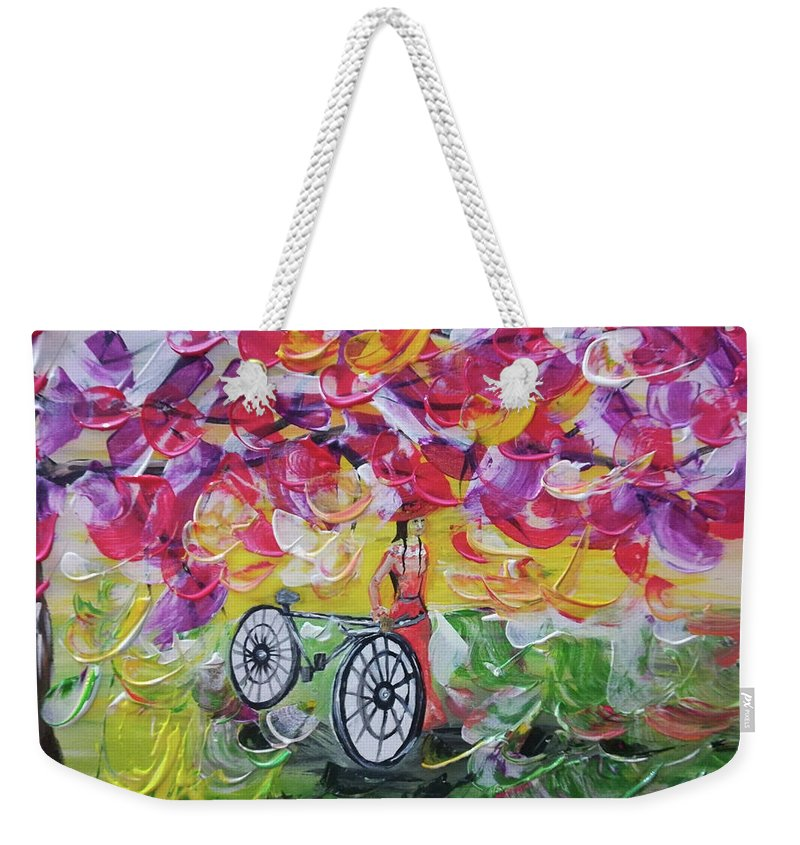 Landscape Weekender Tote Bag featuring the painting Landscape Women Bike by Maria Rom