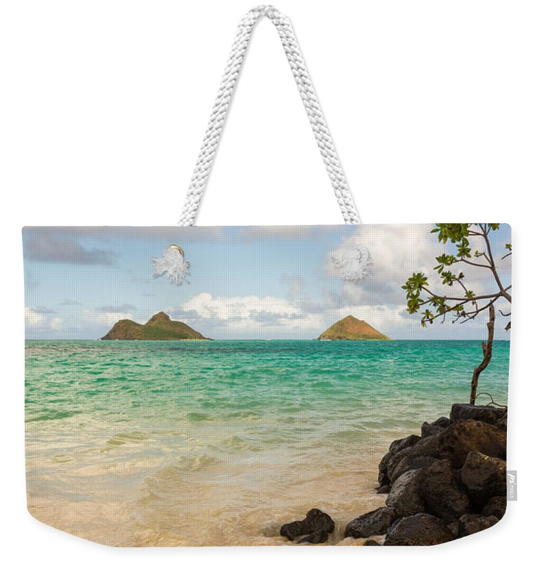 Lanikai Kailua Oahu Hawaii Beach Park Seascape Weekender Tote Bag featuring the photograph Lanikai Beach 1 - Oahu Hawaii by Brian Harig