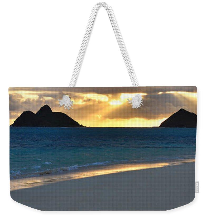 Lanikai Kailua Oahu Hawaii Beach Park Sunrise Panorama Seascape Weekender Tote Bag featuring the photograph Lanikai Beach Sunrise Panorama - Kailua Oahu Hawaii by Brian Harig