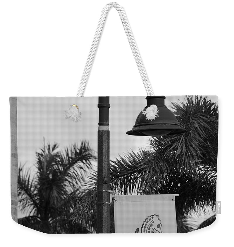 Black And White Weekender Tote Bag featuring the photograph Lantana Lamp Post by Rob Hans
