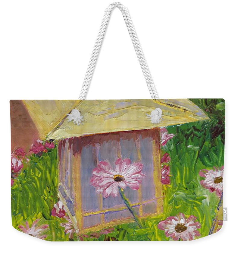 Flower Weekender Tote Bag featuring the painting Lantern And Friends by Lea Novak