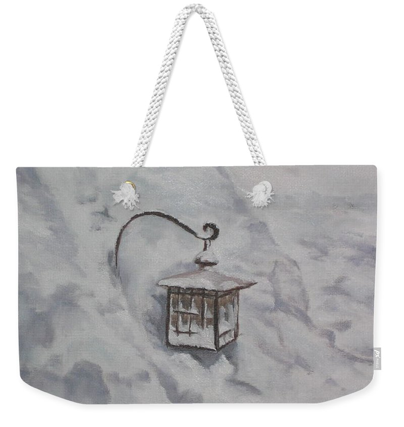 Snow Weekender Tote Bag featuring the painting Lantern in the Snow by Lea Novak