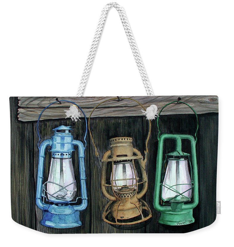 Lanterns Weekender Tote Bag featuring the painting Lanterns by Ferrel Cordle