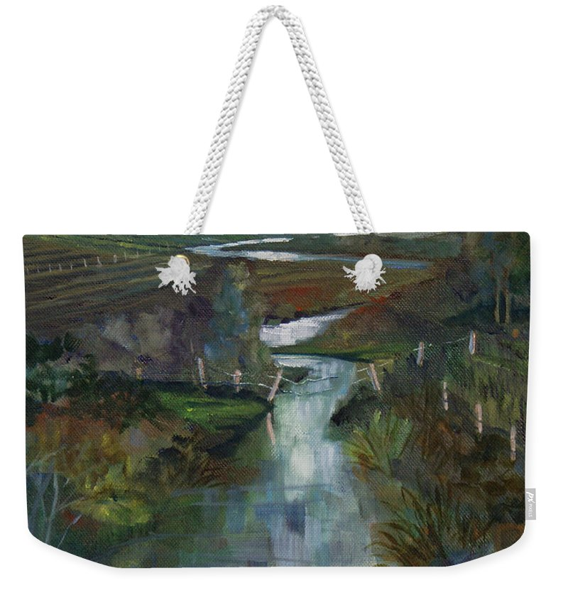River Weekender Tote Bag featuring the painting Laramie River Valley by Heather Coen