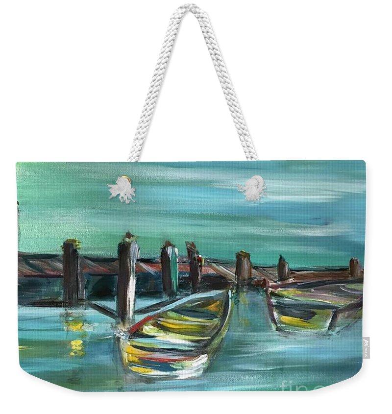 Large Acrylic Painting Weekender Tote Bag featuring the painting Large Acrylic Painting by JillyWillyMaxwell