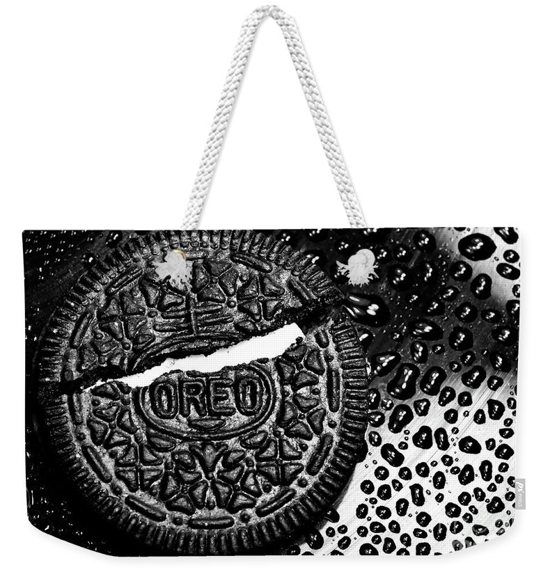 Cookie Weekender Tote Bag featuring the photograph Large Oreo Black And White by Nancy Mueller