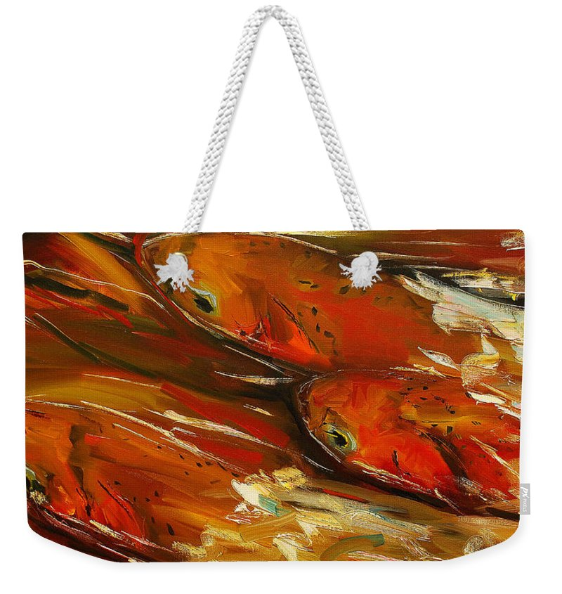 Trout Weekender Tote Bag featuring the painting Large Trout Stream Fly Fish by Diane Whitehead