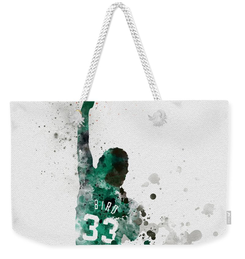 Larry Bird Weekender Tote Bag featuring the mixed media Larry Bird by My Inspiration
