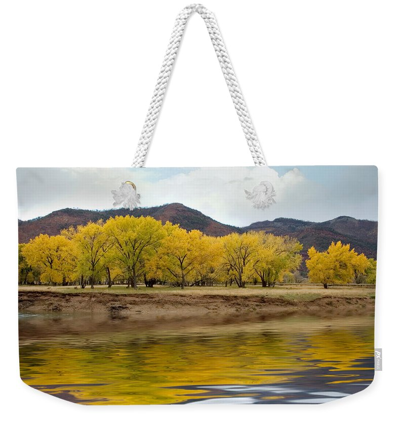 River Weekender Tote Bag featuring the photograph Las Animas Fall by Jerry McElroy