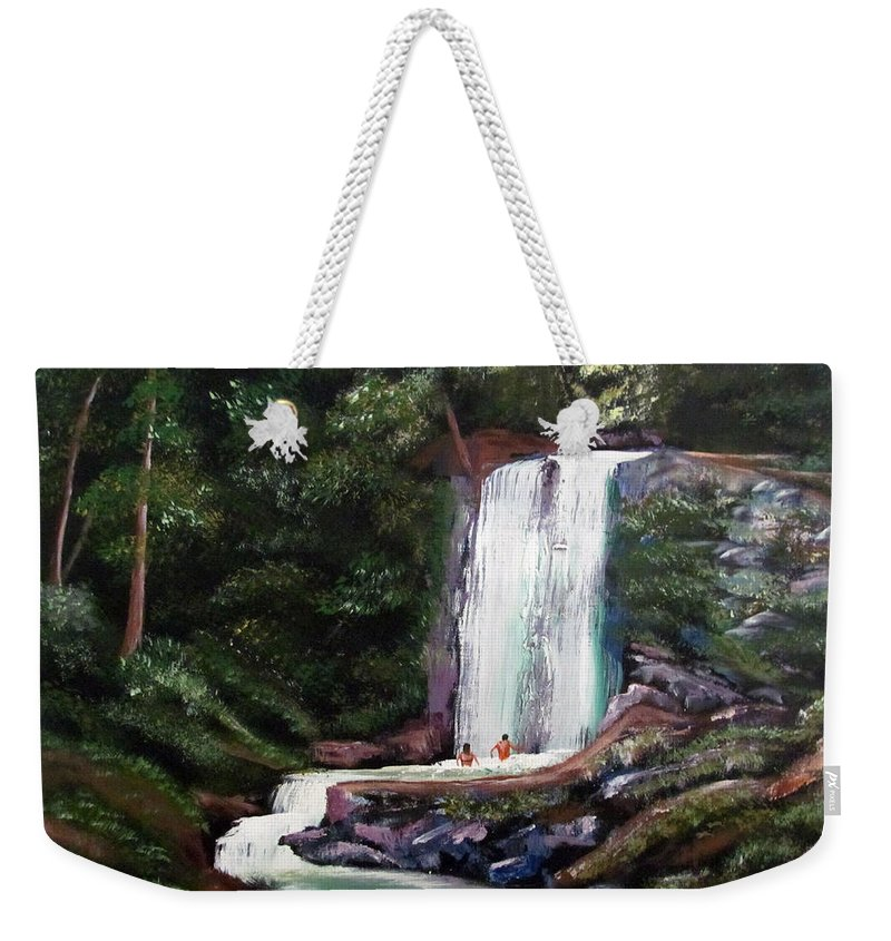 Puerto Rico Weekender Tote Bag featuring the painting Las Marias Puerto Rico Waterfall by Luis F Rodriguez