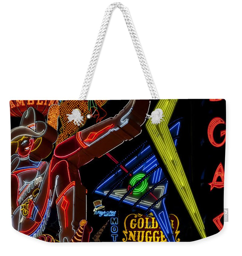 Vintage Signs Weekender Tote Bag featuring the photograph Las Vegas Neon by Andrew Fare