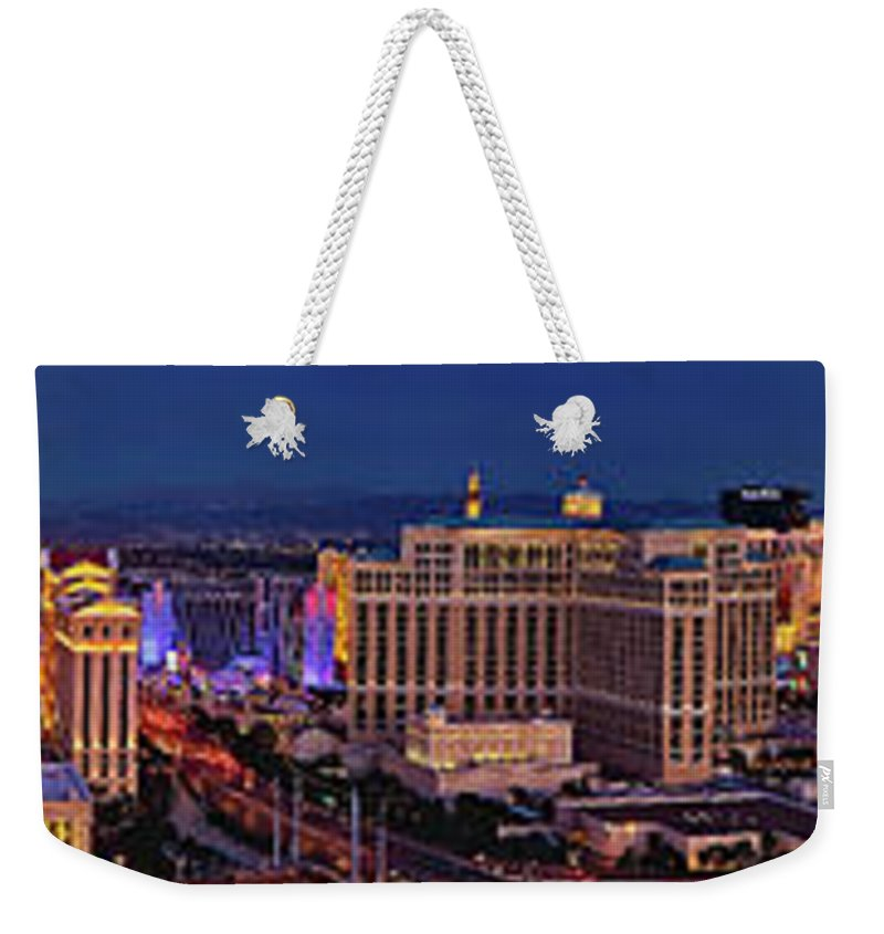 Las Vegas Weekender Tote Bag featuring the photograph Las Vegas Panoramic Aerial View by Susan Candelario