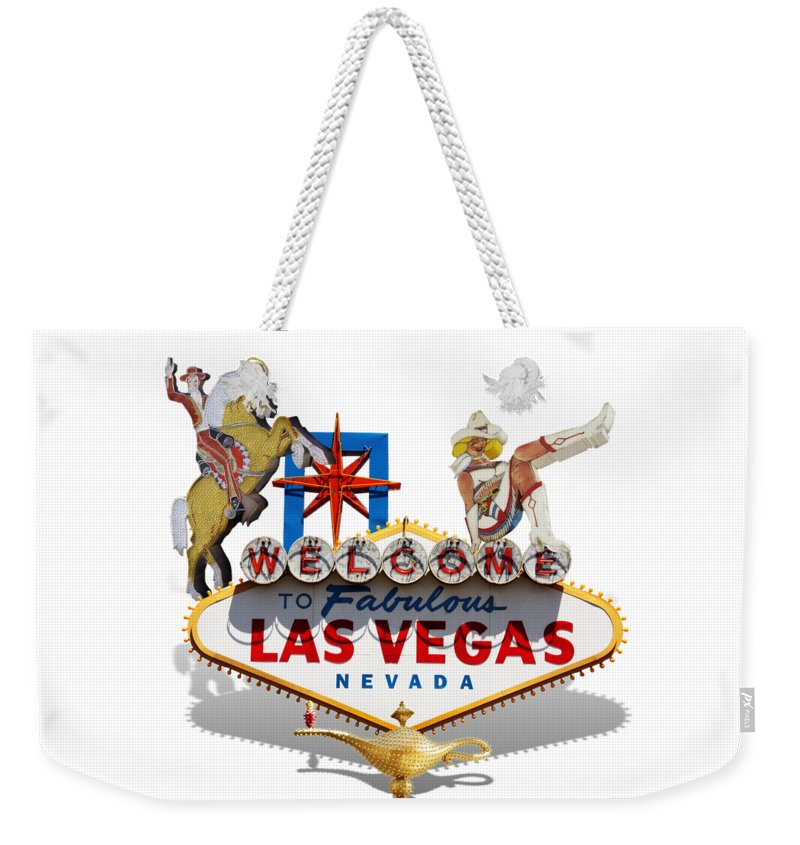 Las Vegas Weekender Tote Bag featuring the mixed media Las Vegas Symbolic Sign On White by Gravityx9 Designs