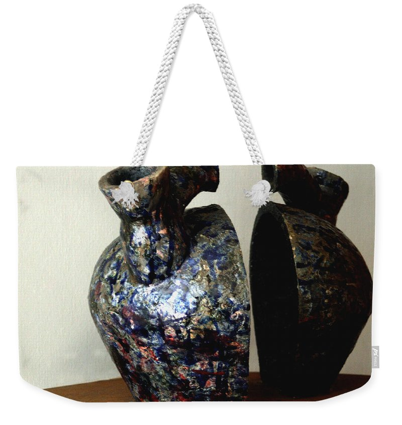 Ceramic Weekender Tote Bag featuring the sculpture Las Venas Abiertas De America Latina by Madalena Lobao-Tello