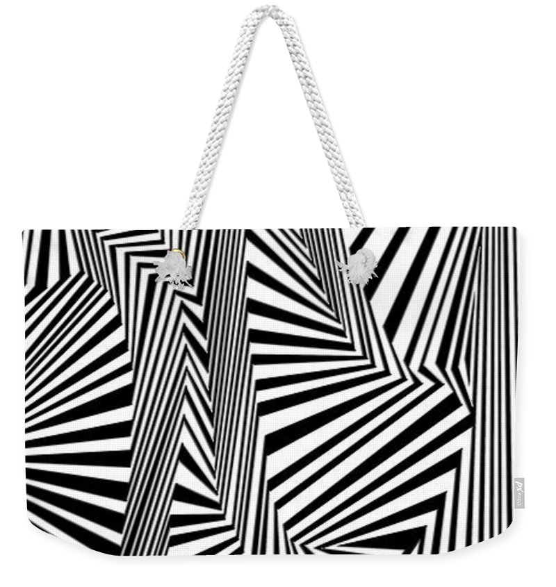 Dynamic Black And White Weekender Tote Bag featuring the painting Laserbeam Focusing by Douglas Christian Larsen