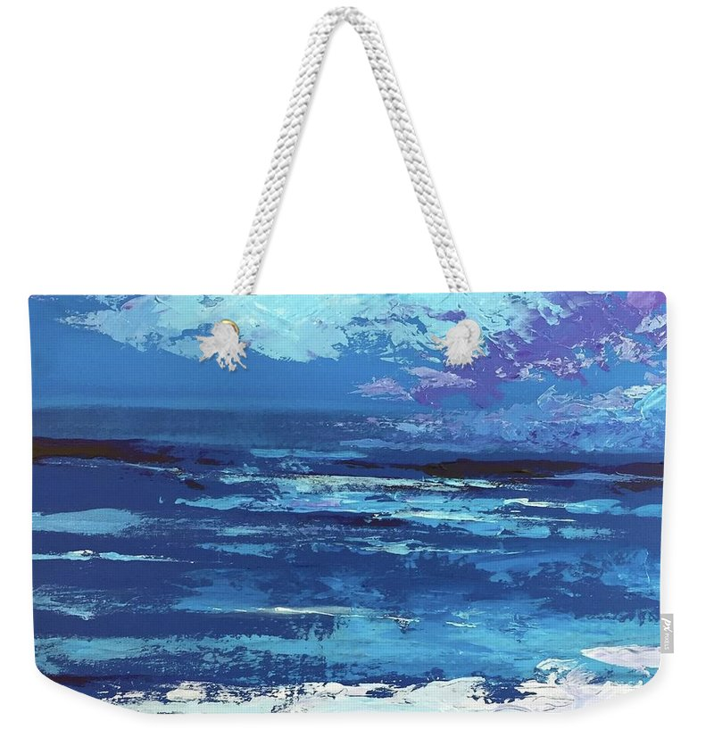 Seascape Weekender Tote Bag featuring the painting Last Light by Hunter Jay