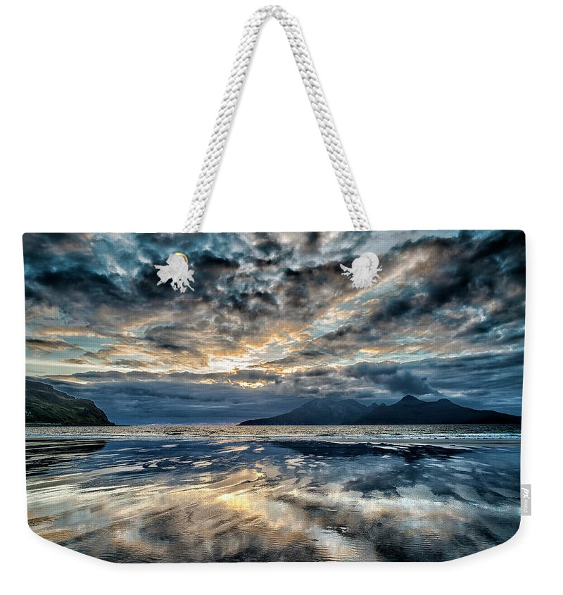 Stunning Weekender Tote Bag featuring the photograph Last Light Isle Of Rum From Isle Of Eigg by Charles Hutchison