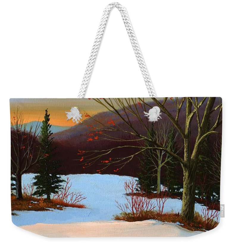 Winter Weekender Tote Bag featuring the painting Last Light Of Day by Frank Wilson