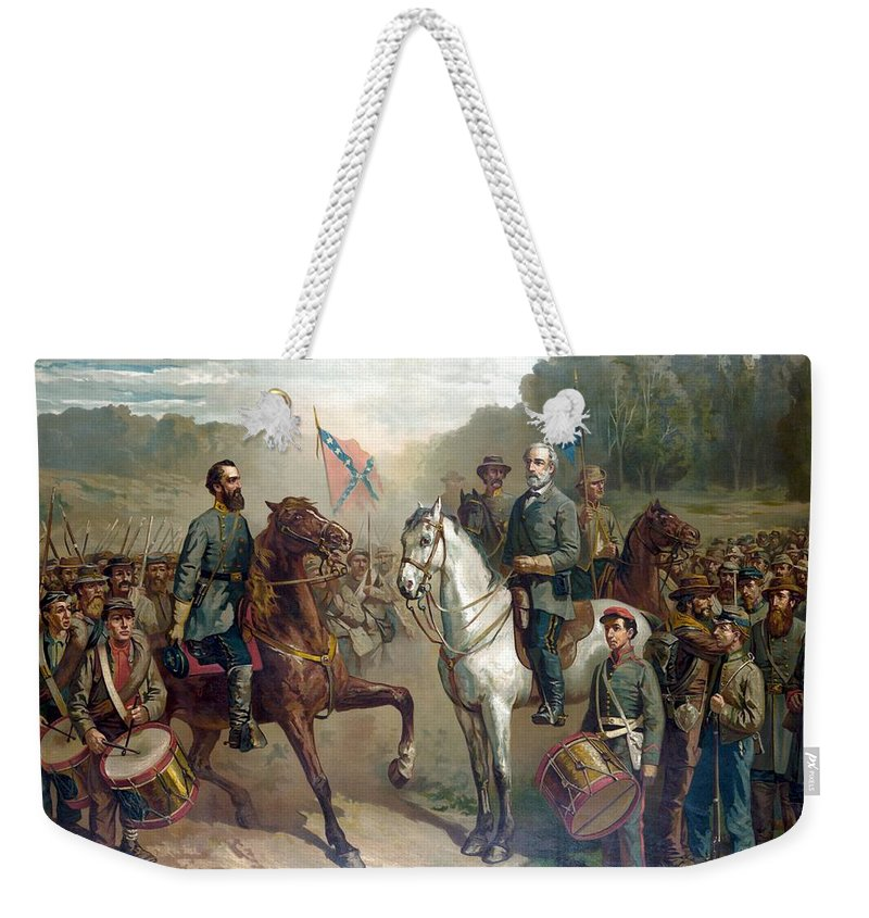 Robert E Lee Weekender Tote Bag featuring the painting Last Meeting Of Lee And Jackson by War Is Hell Store