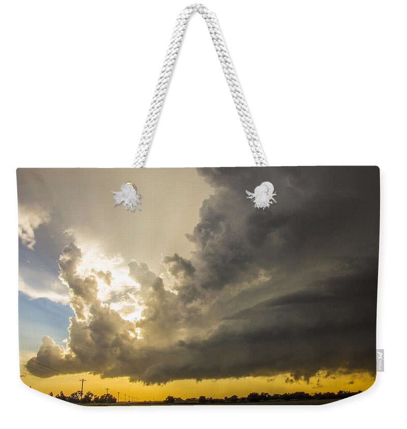 Nebraskasc Weekender Tote Bag featuring the photograph Last Nebraska Supercell Of The Summer 024 by NebraskaSC