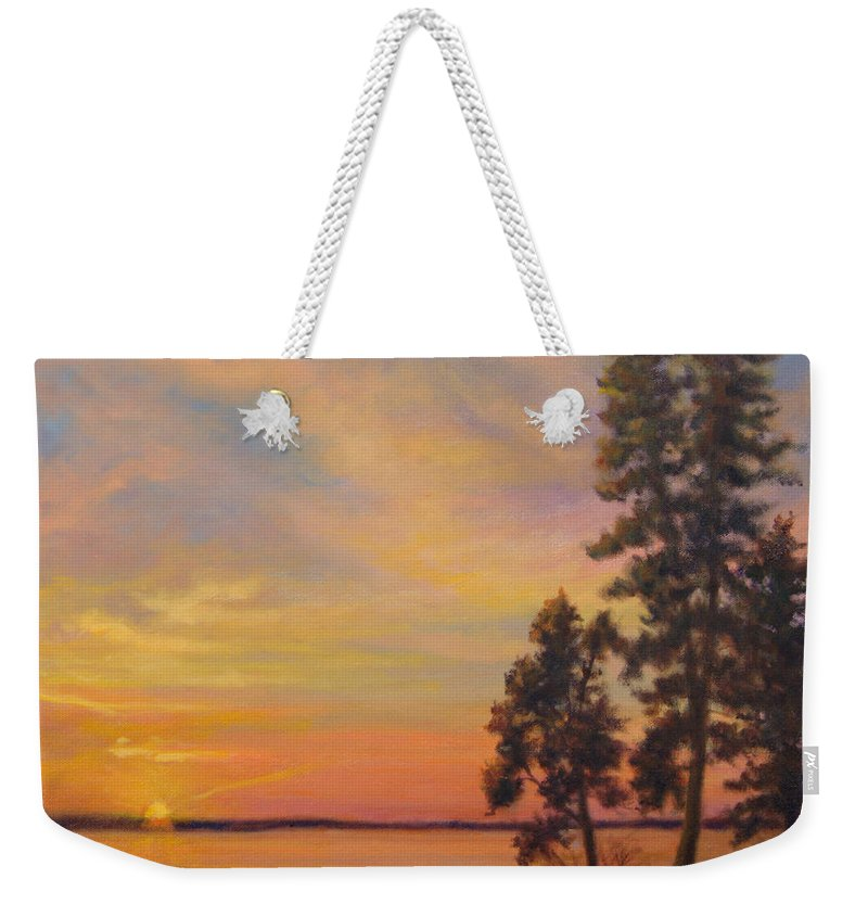 Landscape Weekender Tote Bag featuring the painting Last Rays by Phyllis Tarlow