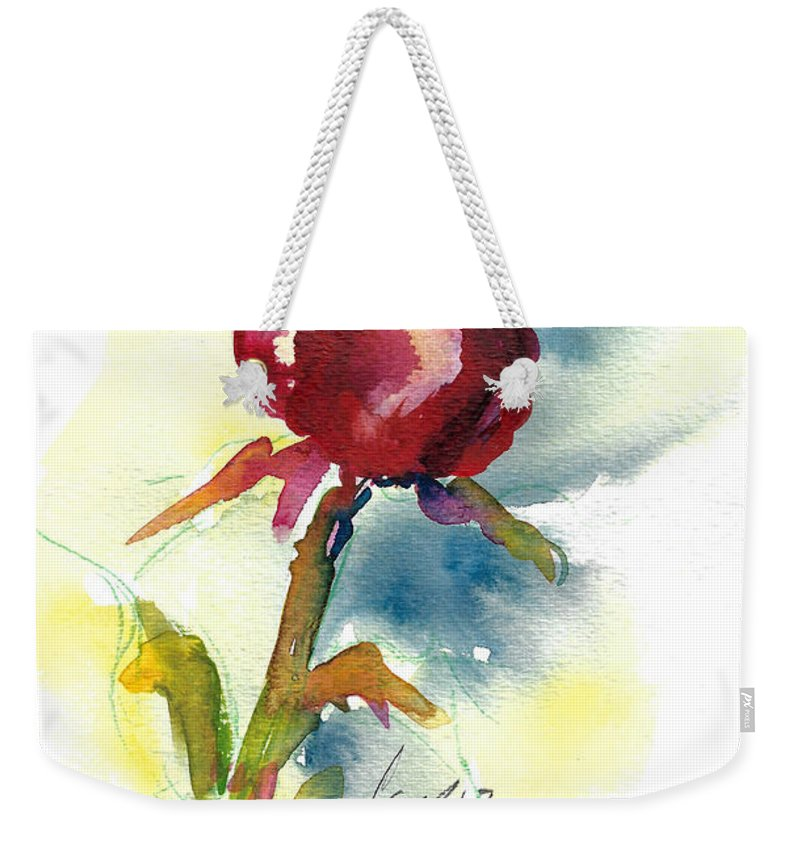 Rose Painting Weekender Tote Bag featuring the painting Last Rose Of Summer by Jacki Kellum