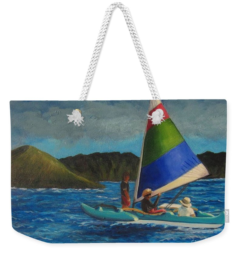 Sailboats Weekender Tote Bag featuring the painting Last Sail Before The Storm by Laurie Morgan