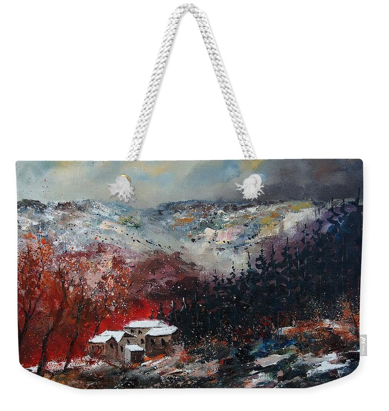 River Weekender Tote Bag featuring the painting Last Snow by Pol Ledent