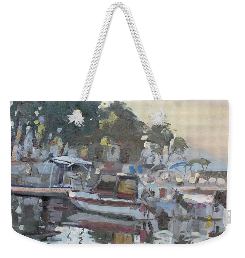 Dilesi Beach Weekender Tote Bag featuring the painting Last Sun Touch by Ylli Haruni