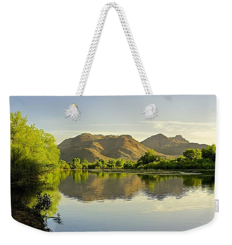 River Weekender Tote Bag featuring the photograph Late Afternoon At Rio Verde River by Barbara Zahno