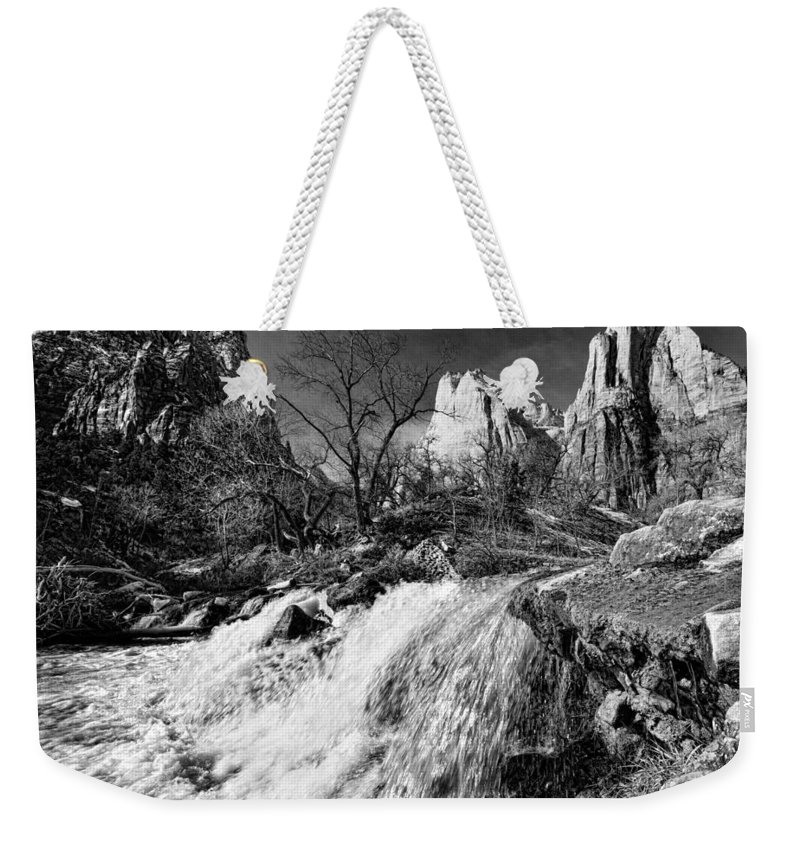 Mountains Weekender Tote Bag featuring the photograph Late Afternoon At The Court Of The Patriarchs - Bw by Christopher Holmes