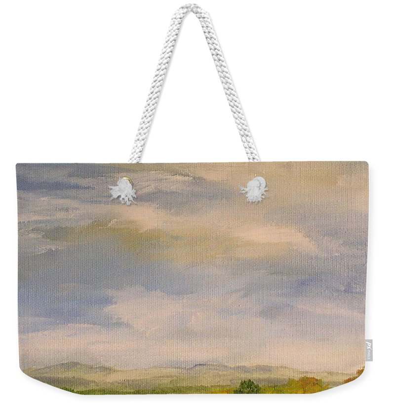 Autumn Weekender Tote Bag featuring the painting Late Afternoon In Vermont by Laurie Rohner