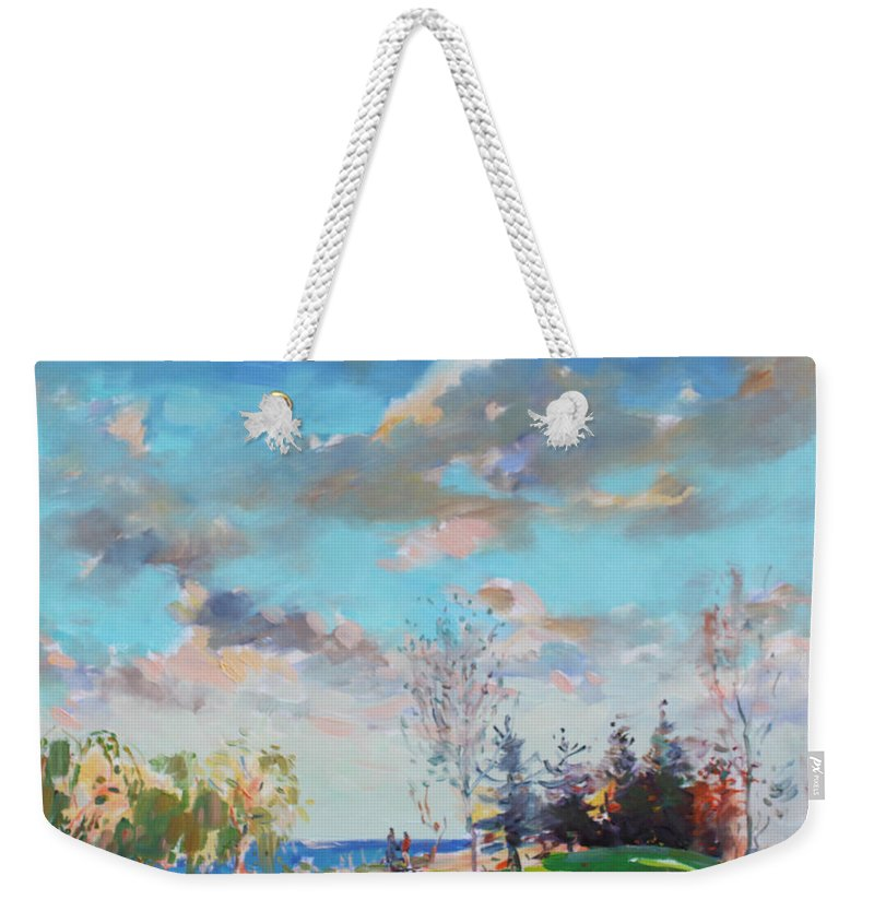 Landscape Weekender Tote Bag featuring the painting Late Afternoon by Ylli Haruni