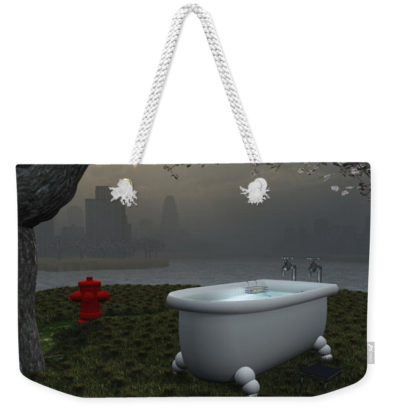 Bathtub Weekender Tote Bag featuring the digital art Late At Night... - Tard Le Soir... by R Fafard