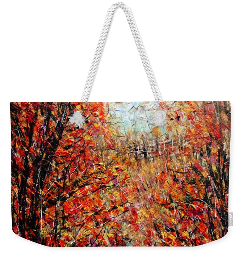 Autumn Weekender Tote Bag featuring the painting Late Autumn by Natalie Holland