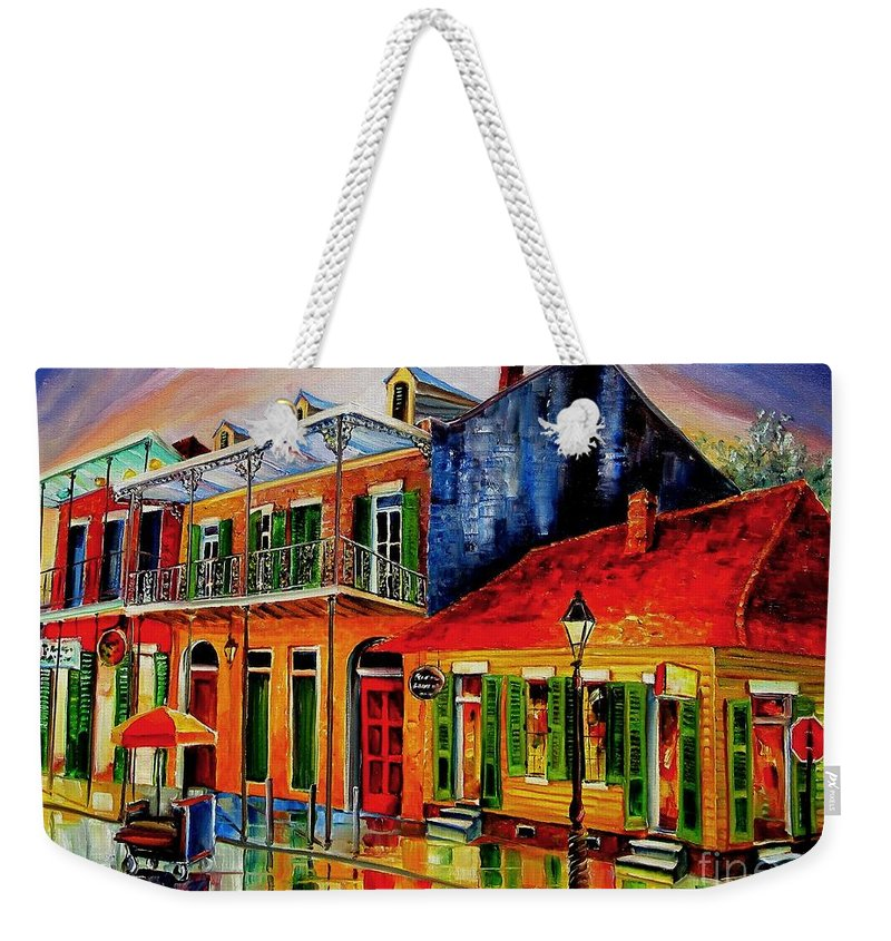 New Orleans Weekender Tote Bag featuring the painting Late On Bourbon Street by Diane Millsap