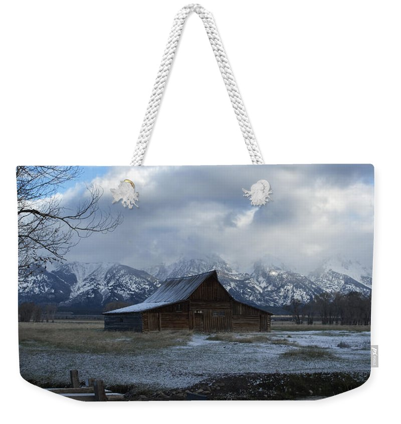 Late Snow Weekender Tote Bag featuring the photograph Late Snow On South Moulton Barn by Gary Langley