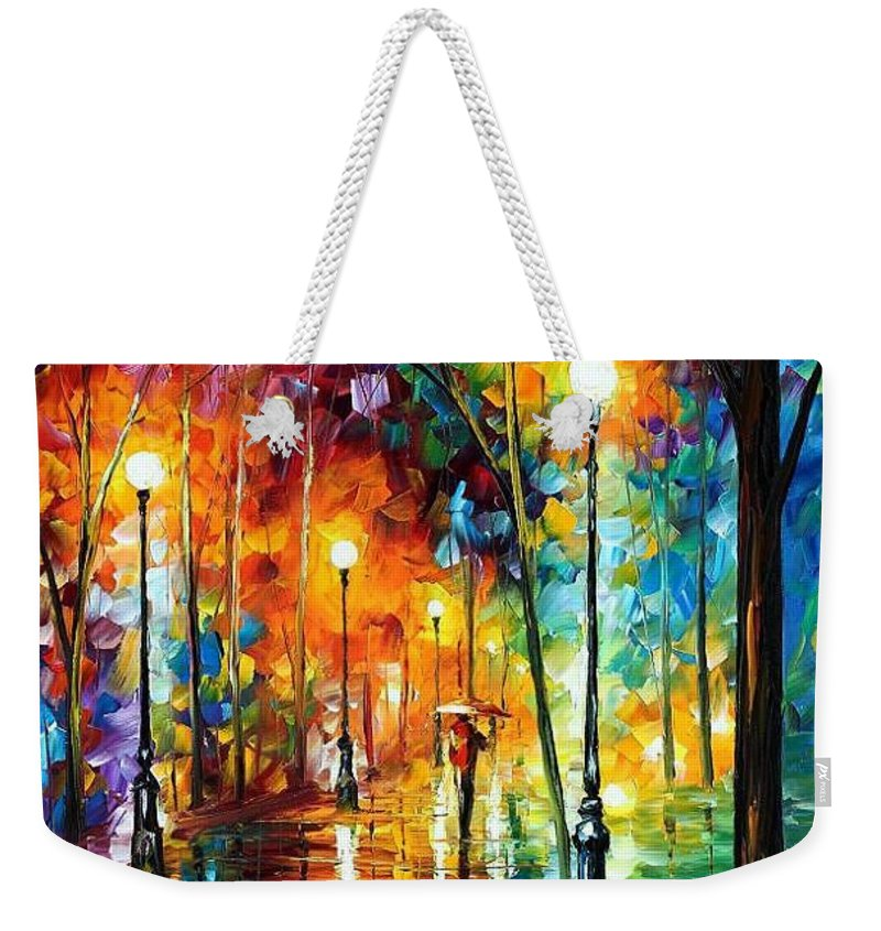 Afremov Weekender Tote Bag featuring the painting Late Stroll by Leonid Afremov
