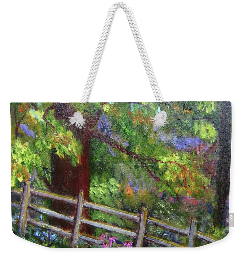 Landscape Weekender Tote Bag featuring the painting Late Summer At Pennypack Preserve by Marita McVeigh