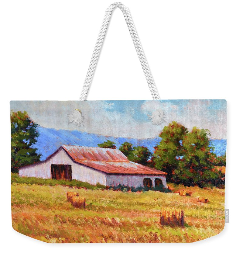 Impressionism Weekender Tote Bag featuring the painting Late Summer Hay by Keith Burgess
