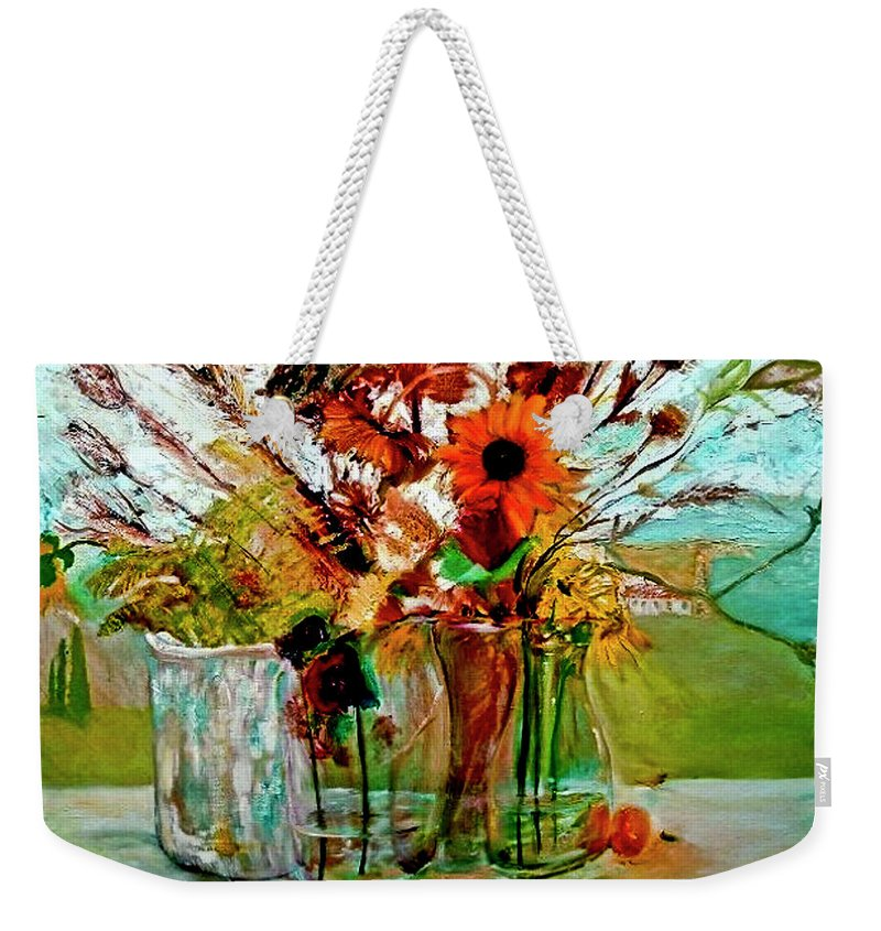 Flowers Jar Glass Thistle Picnic Green Lemon Rose Weekender Tote Bag featuring the painting Late Summer by Jack Diamond