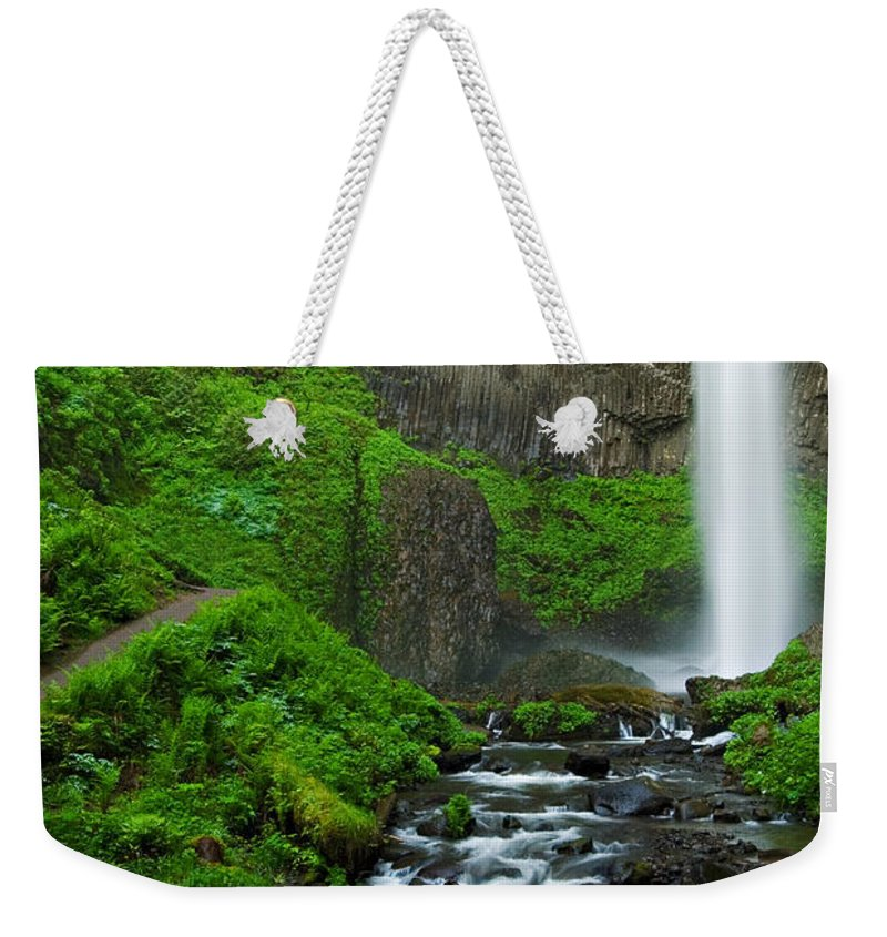 Waterfall Weekender Tote Bag featuring the photograph Latourell Falls Oregon by Renee Hong